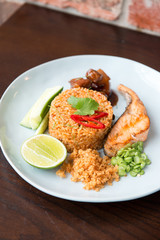 Thai spicy fried rice with salmon.