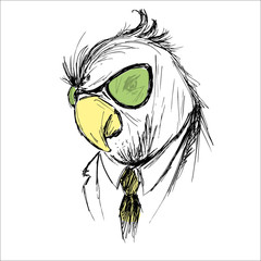 Hand Drawn Fashion Portrait of parrot Hipster isolated on white