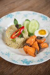 Green curry fried rice with salmon.