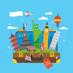Travel around the world concept with landmark icons inside suitc
