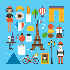 Paris, France flat elements for web graphics and design. Isolate