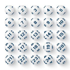 Set of realistic white bingo balls