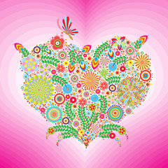 heart of flowers with butterfly and pink background, floral