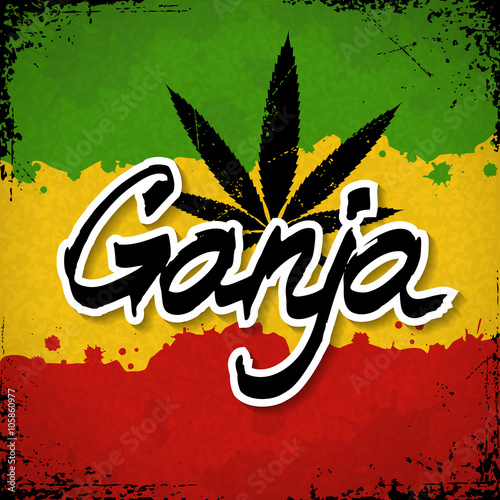 ganja lettering poster vector cannabis leaf and typography on grunge rasta background
