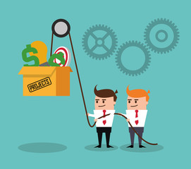 Project and Strategy design, businessman cartoon concept