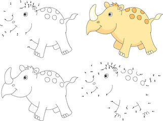 Cartoon rhino. Coloring book and dot to dot game for kids