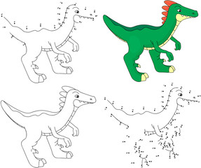 Cartoon guanlong. Coloring book and dot to dot game for kids
