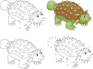 Cartoon ankylosaurus. Coloring book and dot to dot game for kids