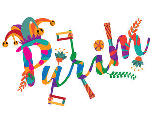 Purim festive greeting card design. With jester's hat, flowers, noisemakers and party favors.