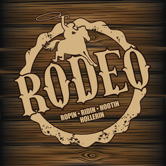 Rodeo brand design on wood background. EPS 10 vector.