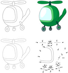 Cartoon green helicopter. Dot to dot game for kids