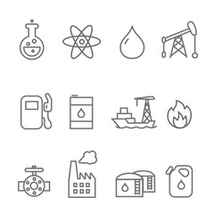 Oil and petrol industry line icon set. Tanker and fuel, energy industry, vector