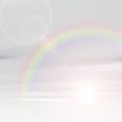 Beautiful natural rainbow sky with white clouds background