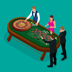 Roulette wheel and croupier in casino. Group of young people behind roulette table in a casino. Casino concept. Flat 3d vector isometric illustration.