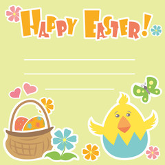 Easter Background, basket with eggs