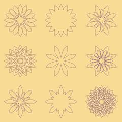 Set of nine geometric flowers