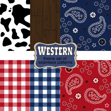 Theme westerns set of seamless patterns