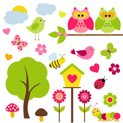 Vector set of spring theme.