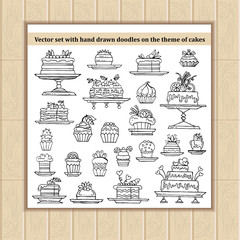 Vector set with hand drawn isolated doodles of cakes