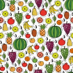 Vector seamless pattern with hand drawn colored fruits