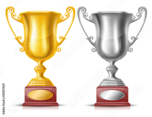 Golden And Silver Trophy Cups