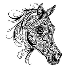 Vector Illustration of an Abstract Ornamental Horse