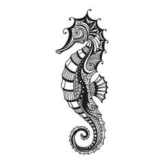 Vector Illustration of an Abstract Ornamental Sea Horse