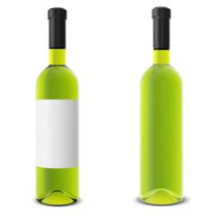 Set wine bottle isolated on white background.