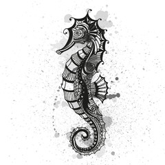 Vector Illustration of an Abstract Ornamental Sea Horse