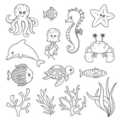 Vector Illustration of Cute Hand Drawn Sea Life Creatures