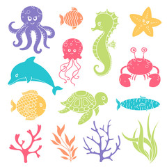 Vector Illustration of Cute Sea Life Creatures