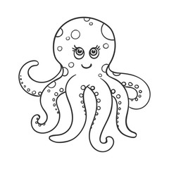 Vector Illustration of a Cute Hand Drawn Octopus