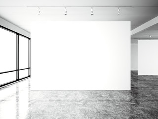 Picture exposition modern gallery,open space.Blank white empty canvas contemporary industrial place.Simply interior loft style with concrete floor,panoramic windows. Black and white.3d Render