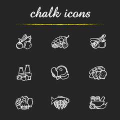 Grocery store items chalk icons set