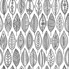 Vector seamless pattern with ornamental leaves