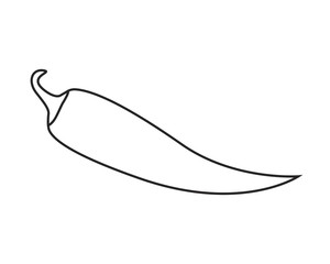 Line icon chili pepper on a white background. Vector illustration.