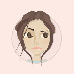 Young girl with hair and big eyes cute vector illustration