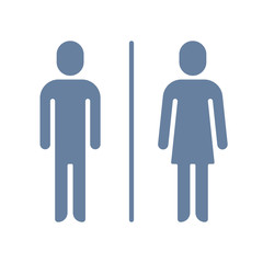 Man and lady toilet sign. Wc or toilet vector icon. Style is bicolor flat symbol, cyan and blue colors, rounded angles, white background.
