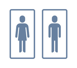 Man and lady toilet sign. Wc or toilet vector icon with a frame. Style is bicolor flat symbol, cyan and blue colors, rounded angles, white background.