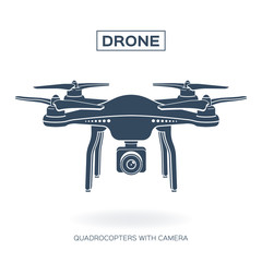 Drone, quadrocopter with camera. Gray color, white background. Illustration, vector EPS 10