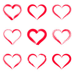 Red vector brush strokes hearts