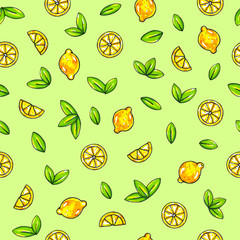 Beautiful animation lemon fruits on green background. Lemon drawing. Seamless pattern