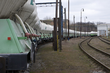 freight cars lined up at the station