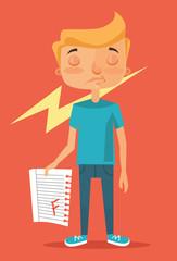 Bad student. Vector flat illustration