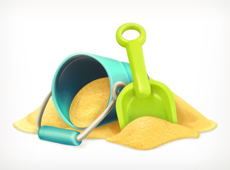 Shovel and bucket in the sand, toys vector icon