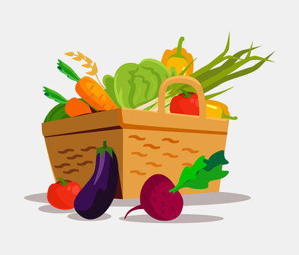 Basket with vegetables. Vector flat illustration