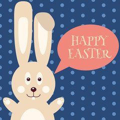 Greeting card with Easter rabbit. Easter Bunny. Vector illustration