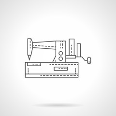 Manual sewing machine flat thin line vector icon