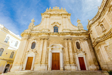 Back light of Cathedral Maria Santissima della Madia, old town Monopoli, Italy