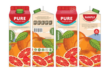 Grapefruit Juice Carton Cardboard Box Pack Design